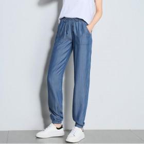 天丝牛仔裤女宽松哈伦裤九分裤