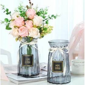 欧式玻璃花瓶创意简约透明水培绿萝植物干花瓶客厅插花