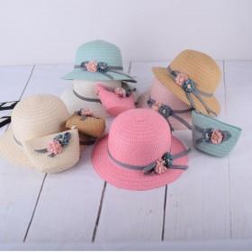 儿童遮阳帽海边沙滩亲子草帽女童出游太阳帽