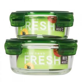 包邮家用保鲜碗两件套大容量玻璃饭盒微波炉专用