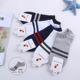 独立包装男袜两条杠运动休闲袜子时尚男船袜低腰短袜