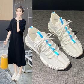 飞织薄款网鞋女网面透气潮鞋运动跑步鞋夏季低帮休闲
