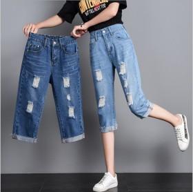 松紧高腰直筒牛仔七分裤女显瘦短裤2019夏季新款网