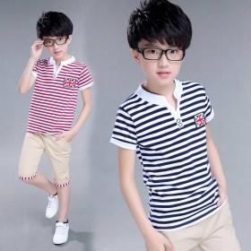 男童夏童装短袖t恤短裤两件套中大童上衣七分裤帅气装