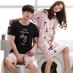 夏季情侣睡衣男女士大码休闲家居服套装韩版短袖牛奶丝