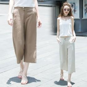 夏季亚麻裤女九分裤高腰宽松休闲裤薄款棉麻八分阔腿裤