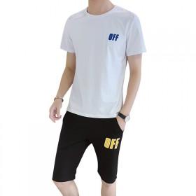 男士休闲运动套装夏装新款夏季修身青年短袖短裤套装