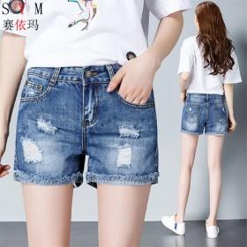 夏季新款牛仔短裤女高腰宽松破洞学生百搭显瘦热裤