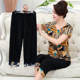 200斤胖妈妈装夏装加肥加大 中老年人奶奶装套装宽