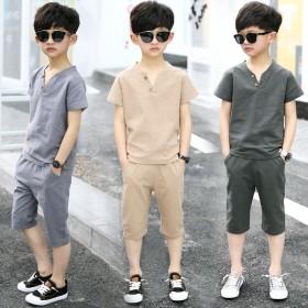 男童套装夏装儿童短袖短裤中大童男孩仿棉麻t恤两件套