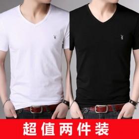 2件装花花公子贵宾男士短袖T恤V领半袖纯色打底衫