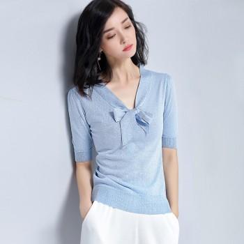 夏季短袖针织衫女V领蝴蝶结飘带t恤清凉