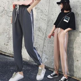 夏季新款运动束脚裤女学生韩版原宿风潮薄款宽松大码