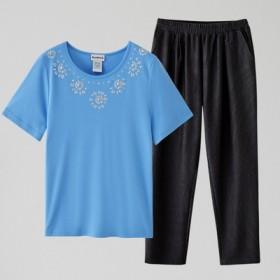 中老年妈妈套装美单T恤衫加日单妈妈裤