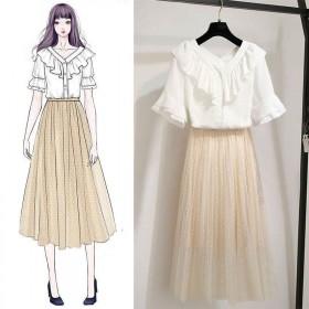 连衣裙2019新款夏社会单套装雪纺衬上衣波点网裙半