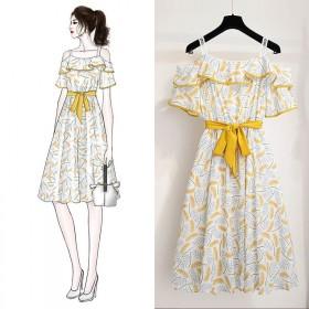 连衣裙2019新款夏甜美气质很仙的法国小众雪纺时尚