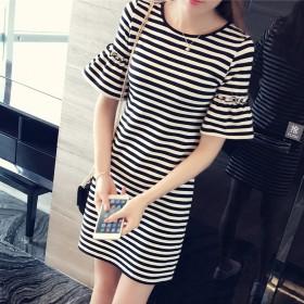 爆款女装中长款女式条纹宽松短袖T恤女韩版连衣裙