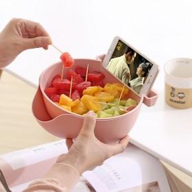 懒人果盘放手机架嗑吃瓜子盘神器洗菜水果篮双层装吃水