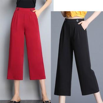 红色阔腿裤女夏雪纺轻薄八分裤高腰小个子七分裤垂坠松