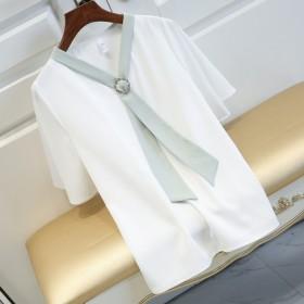 雪纺衫女短袖2019新款夏装喇叭袖系带领带
