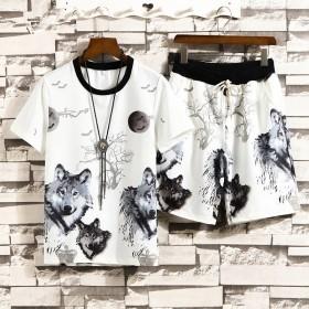 青少年印花短袖T恤套装男夏季韩版潮流短裤休闲两件套