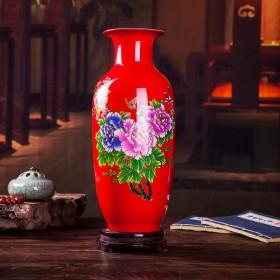 景德镇陶瓷器大红花瓶现代家居酒柜装饰工艺品客厅摆件