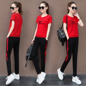 运动套装女装夏圆领短袖长裤运动服显瘦休闲两件套