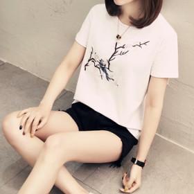 酷酷的心机绣花上衣短袖t恤女修身薄款短款半袖