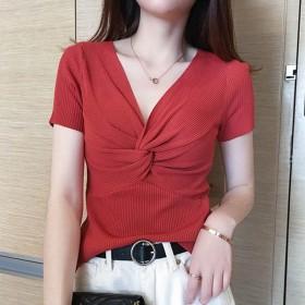 棉麻针织短袖女短款很仙黑色夏季韩版ns显瘦v领半袖