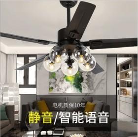 客厅吊扇灯简约现代北欧魔豆风扇吊灯家用卧室餐厅静音