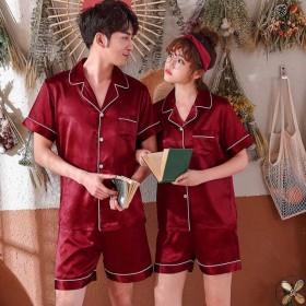 大码情侣睡衣夏男女款冰丝长袖仿真丝绸开衫外穿两件套