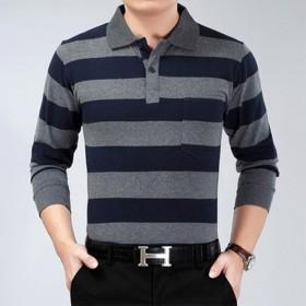 中老年装真口袋长袖条纹T恤父亲节礼物