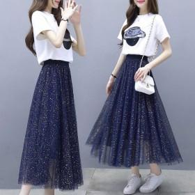 新款女洋气亮片网纱半身裙套装时髦圆领T恤A字裙子