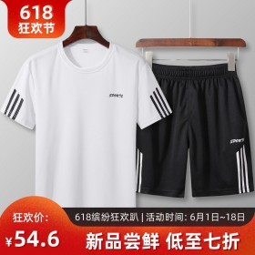2019夏季新款短袖短裤两件套速干男休闲运动套装大