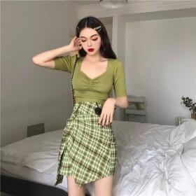 实拍网红两件套牛油果绿性感针织衫洋气格纹半身裙套装