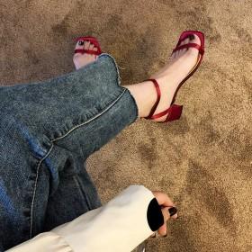 2019时尚百搭新款夏季罗马风仙女凉鞋女粗跟高跟女