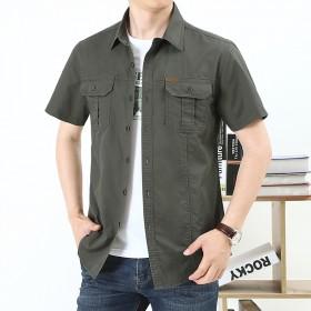 吉普盾夏季薄款短袖衬衫男士工装户外宽松休闲纯棉衬衣