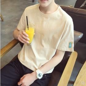 新款刺绣宽松男式短袖T恤男士圆领纯色青少年学生潮流
