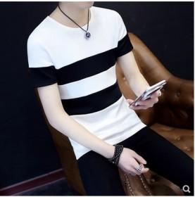 短袖T恤圆领条纹韩版修身潮流夏季新款学生拼色小清新