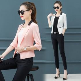 大码防晒西装女七分袖拼色修身显瘦短外套空调衫工作服