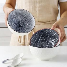 大容量6英寸日式陶瓷泡面碗家用沙拉碗