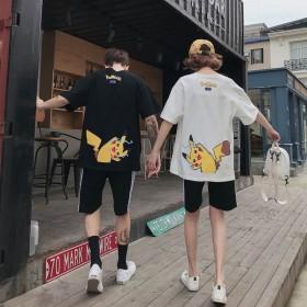 韩版港风神奇宝贝皮卡丘潮男T恤情侣短袖男女装学生服