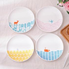 8英寸欧式早餐盘家用陶瓷水果蛋糕盘卡通动物西餐盘餐