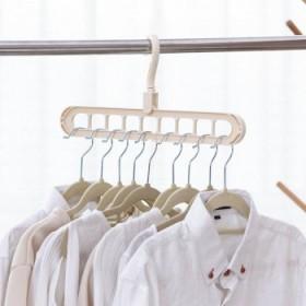 九孔伸缩衣架衣柜收纳挂架家用多功能晾衣架防风防滑衣