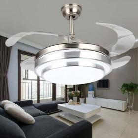 隐形风扇灯现代简约卧室客厅餐厅吊扇灯扇叶可收拢静音