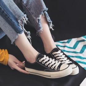 新品韩版百搭帆布鞋女透气休闲低帮鞋ins原宿风小白