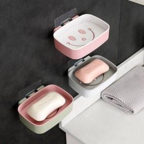 粘贴肥皂盒创意沥水卫生间壁挂式免打孔笑脸双层大号