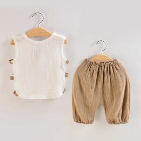 男童女宝宝夏装婴幼儿童装衣服棉麻夏季背心无袖短裤套