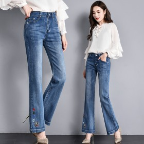 加长女裤喇叭裤牛仔长裤女阔脚裤2019秋季