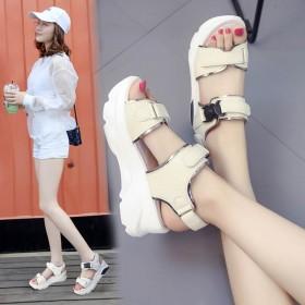 凉鞋女学生夏季2019新款韩版厚底原宿软妹魔术贴松